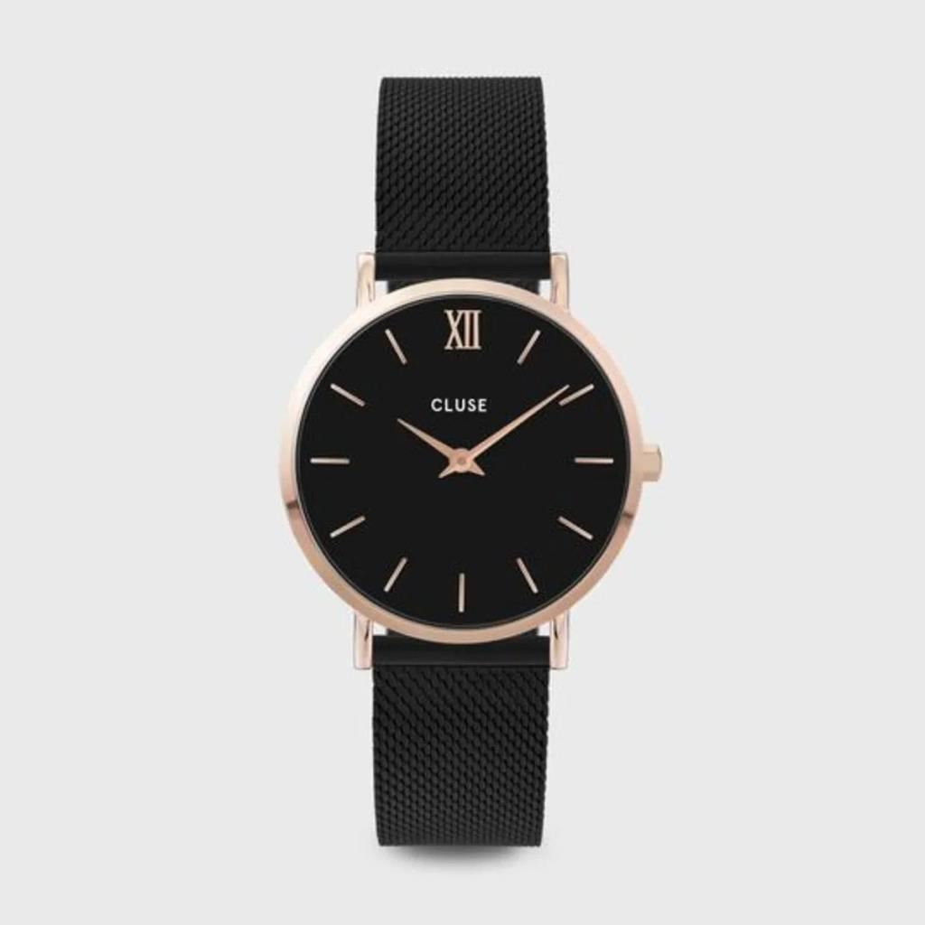 CLUSE MINUIT MESH BLACK, ROSE GOLD COLOUR - CLUSE