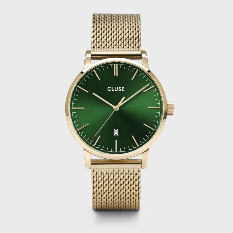 CLUSE ARAVIS 3H 40MM GREEN DIAL MESH GOLD - CLUSE