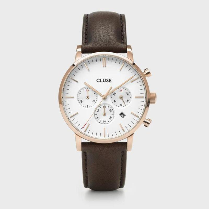 CLUSE ARAVIS CHRONO WHITE DIAL BROWN - CLUSE