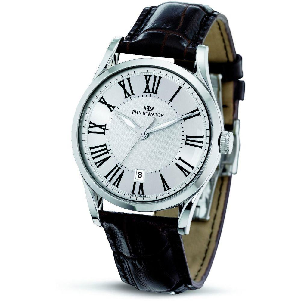 PHILIP WATCH SUNRAY 3H SILVER WHITE DIAL BROWN - PHILIP WATCH