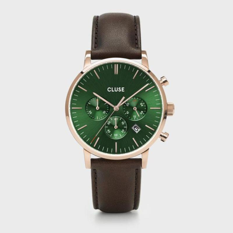 CLUSE ARAVIS CHRONO GREEN DIAL BROWN - CLUSE