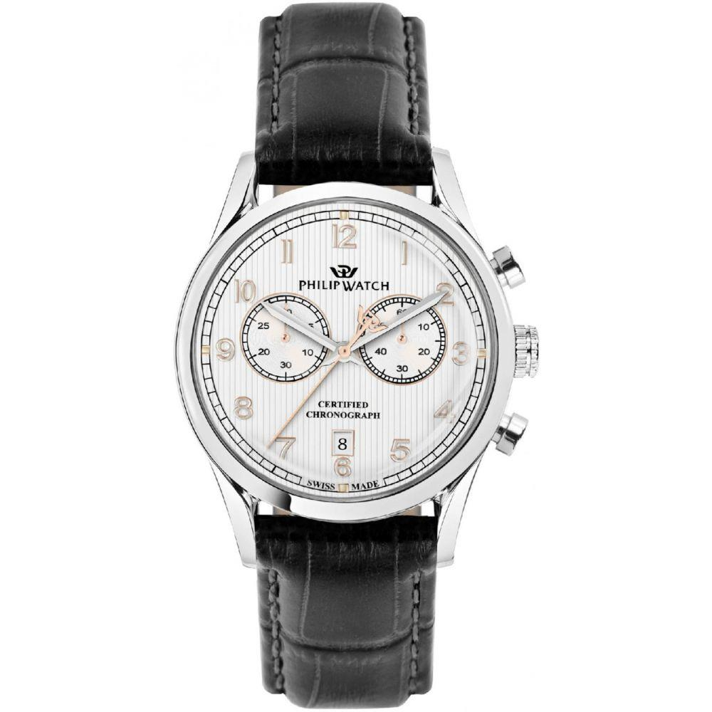 PHILIP WATCH SUNRAY 39 MM CHRONO SILVER DIAL BLACK - PHILIP WATCH