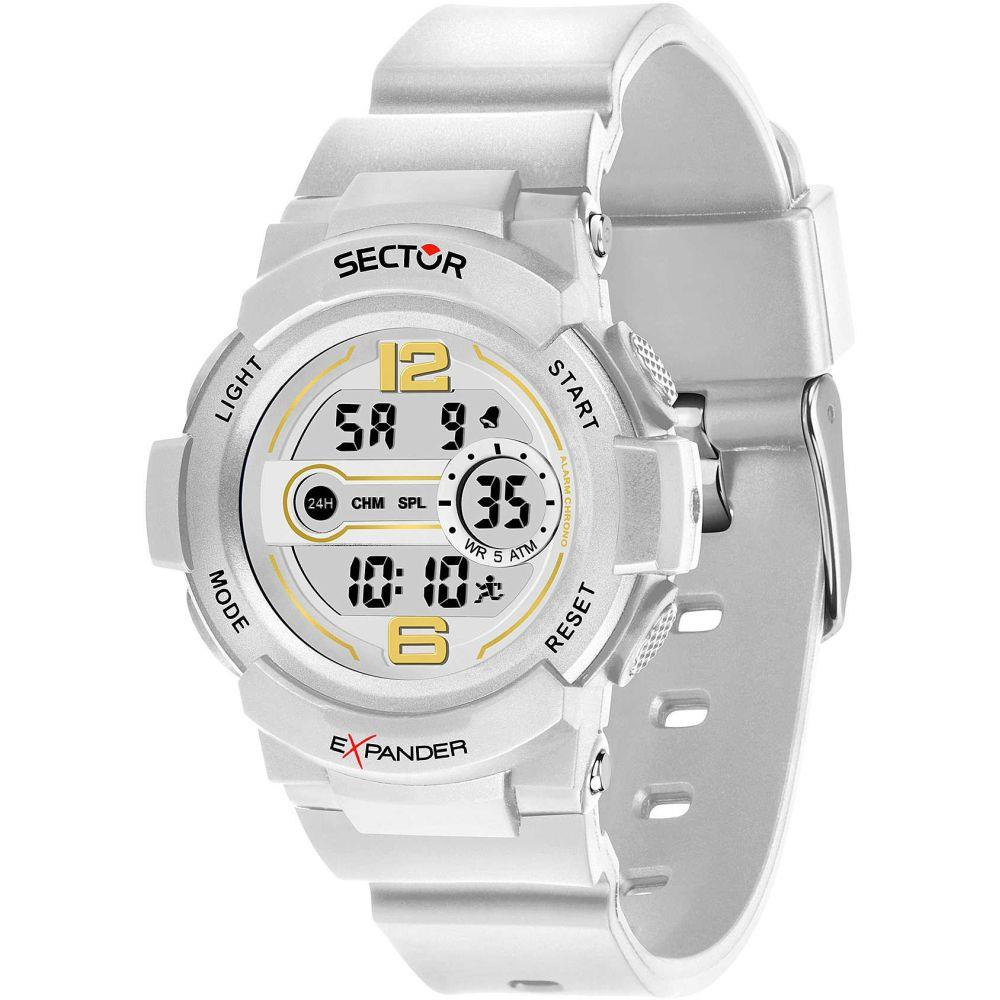 SECTOR EX-16 DIGITAL WHITE DIAL WHITE PU STRAP - SECTOR