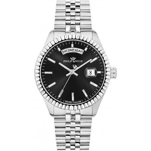 PHILIP WATCH CARIBE 39MM 3H BLACK DIAL BR SS - PHILIP WATCH