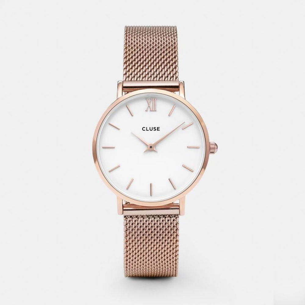 CLUSE MINUIT MESH ROSE GOLD/WHITE - CLUSE