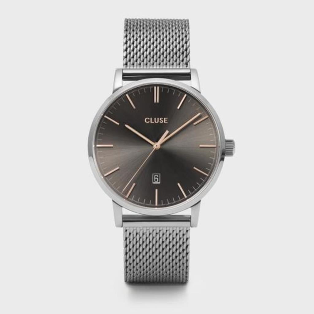CLUSE ARAVIS 3H 40MM GREY DIAL MESH SILVER - CLUSE